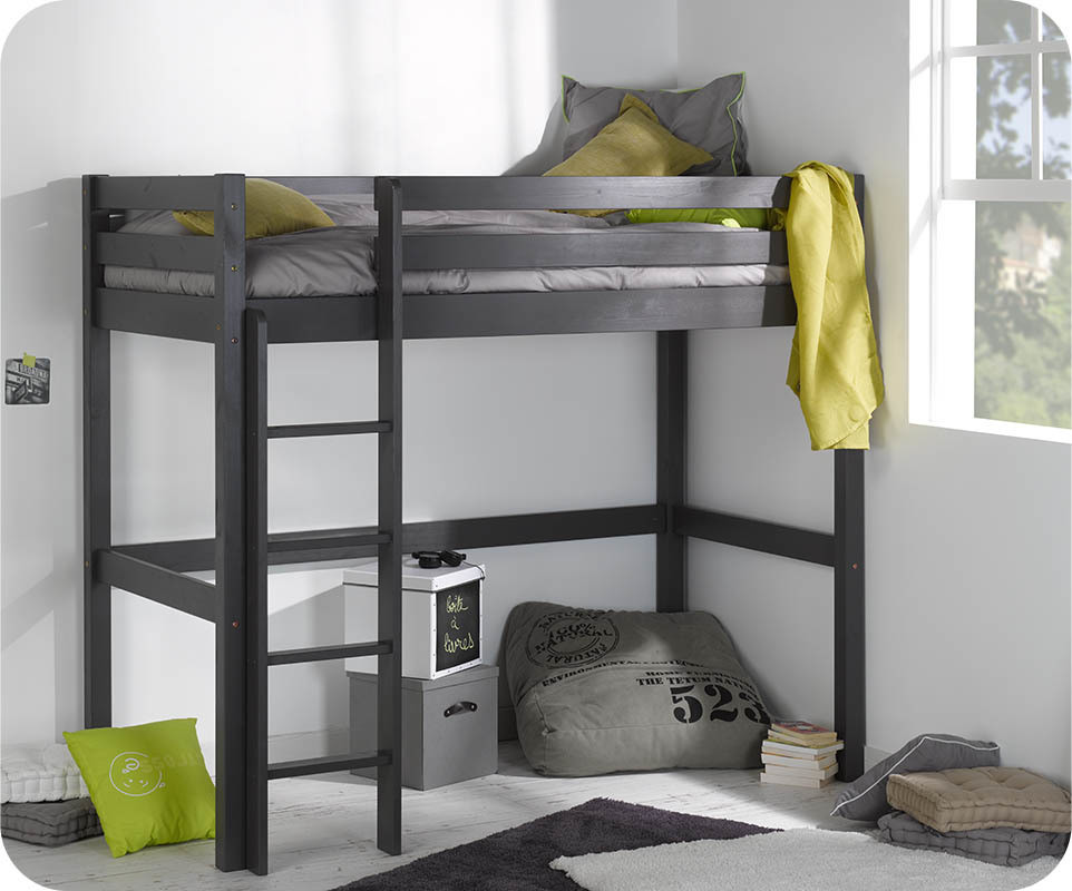 lit enfant mezzanine cargo gris anthracite 90x190 cm. Black Bedroom Furniture Sets. Home Design Ideas
