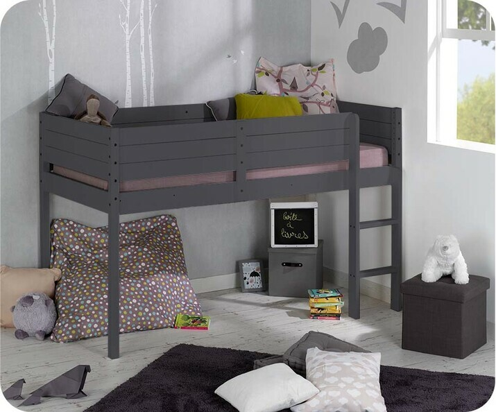 lit enfant mi hauteur tamis gris anthracite 90x190 cm. Black Bedroom Furniture Sets. Home Design Ideas