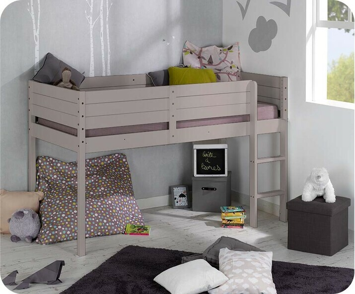 lit enfant mi hauteur tamis lin 90x190 cm. Black Bedroom Furniture Sets. Home Design Ideas