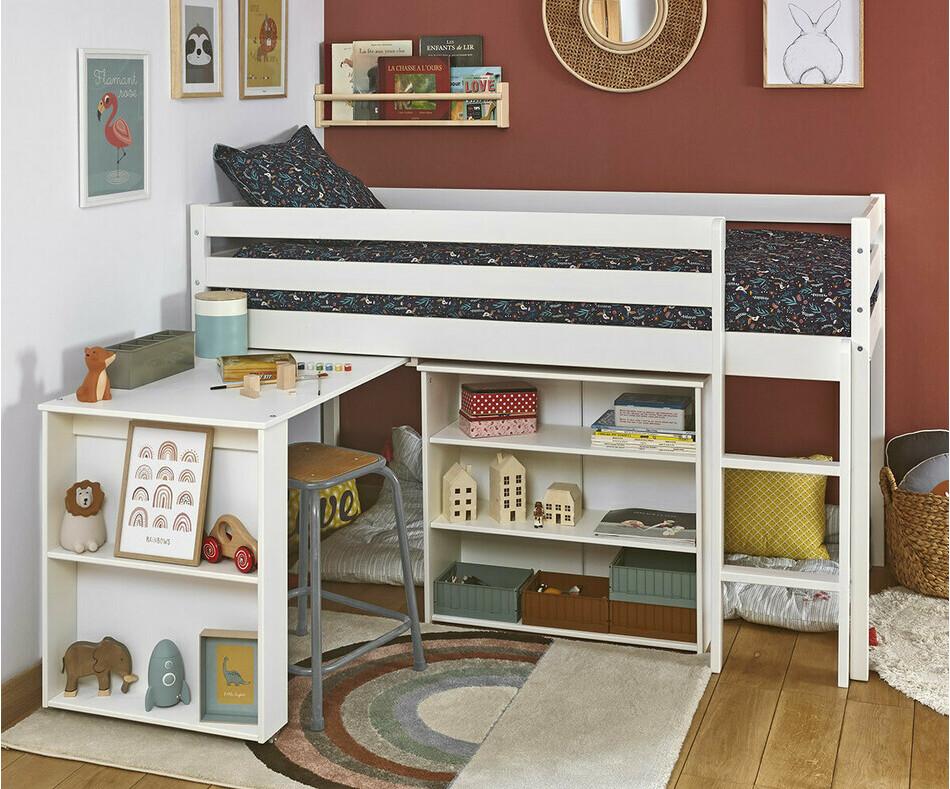 pack lit enfant mi hauteur tamis blanc 90x190 cm. Black Bedroom Furniture Sets. Home Design Ideas