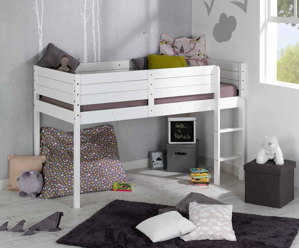 pack lit enfant mi hauteur tamis blanc 90x190 cm. Black Bedroom Furniture Sets. Home Design Ideas