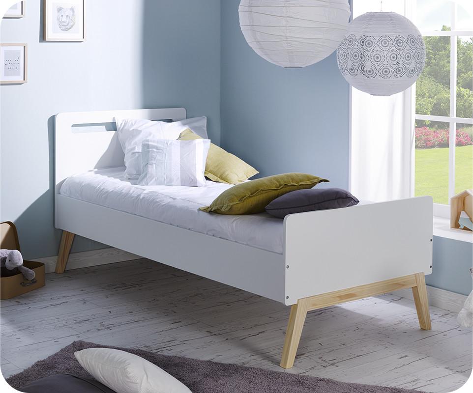 lit enfant songe blanc et bois 90x200 cm. Black Bedroom Furniture Sets. Home Design Ideas
