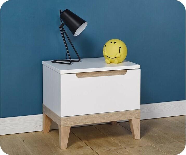 pack lit enfant riga blanc et bois 90x200 cm. Black Bedroom Furniture Sets. Home Design Ideas