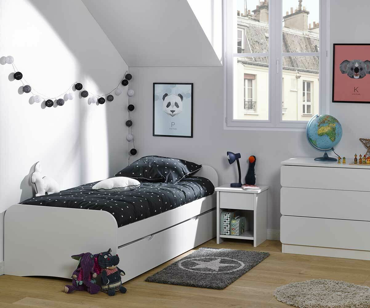 pack lit enfant gigogne twist blanc 90x190 cm avec 2 matelas. Black Bedroom Furniture Sets. Home Design Ideas