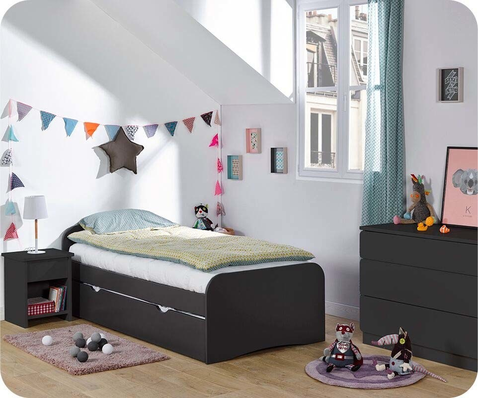 chambre enfant twist gris anthracite set de 3 meubles. Black Bedroom Furniture Sets. Home Design Ideas