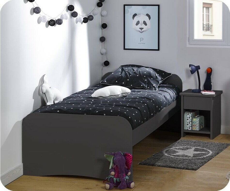 Pack Lit enfant Twist Gris Anthracite 90x190 cm