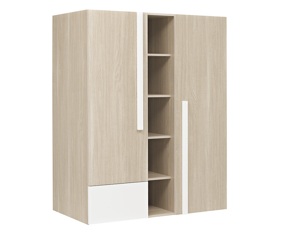 armoire b b nola bois et blanche. Black Bedroom Furniture Sets. Home Design Ideas