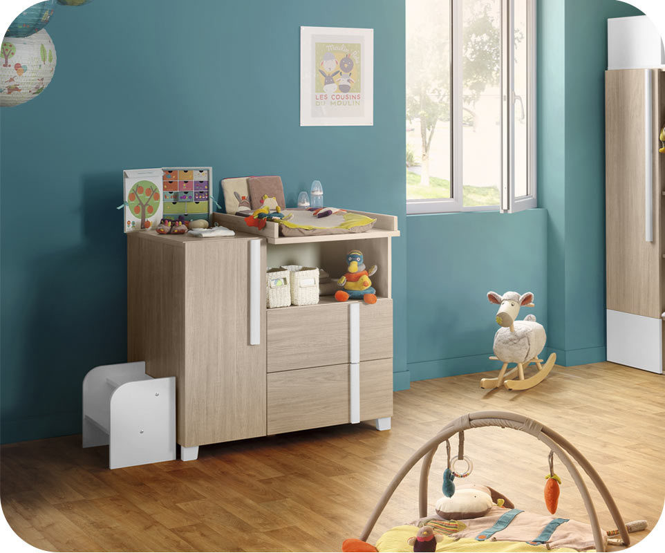 commode b b nola bois et blanche. Black Bedroom Furniture Sets. Home Design Ideas