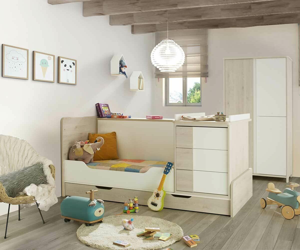 lit b b combin volutif lili bois et blanc. Black Bedroom Furniture Sets. Home Design Ideas