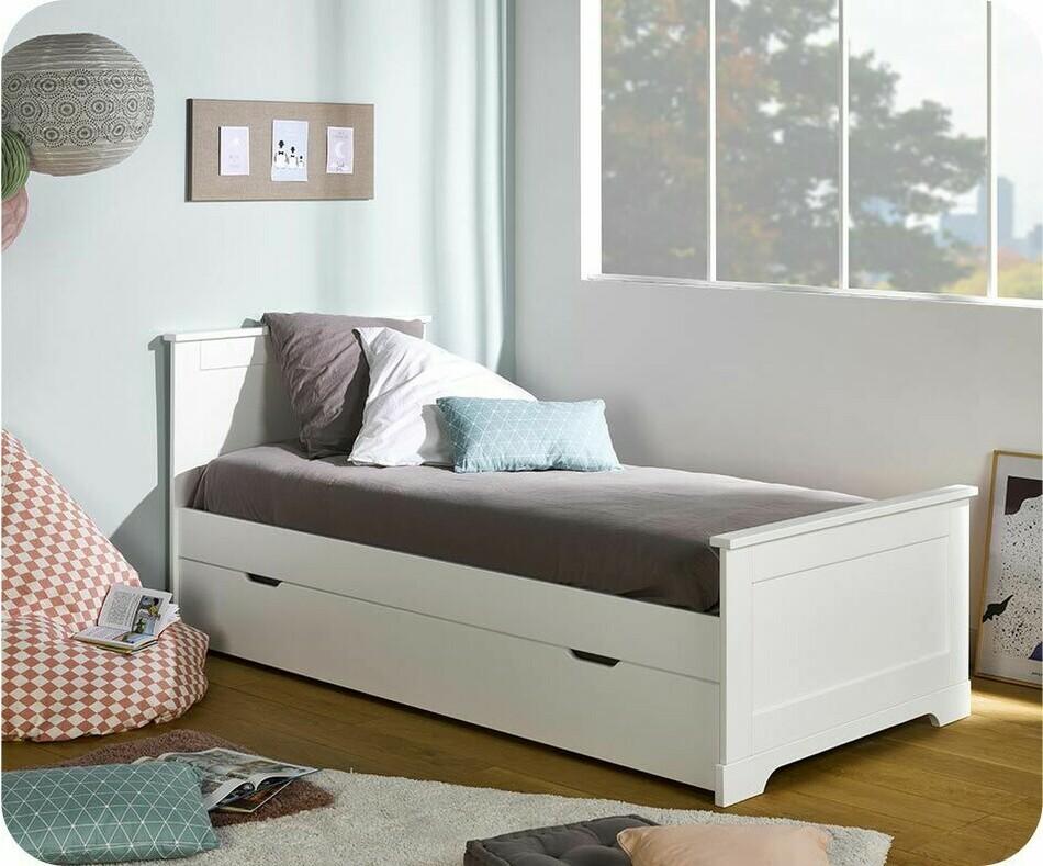 pack lit enfant gigogne mel blanc 90x200 cm avec sommier