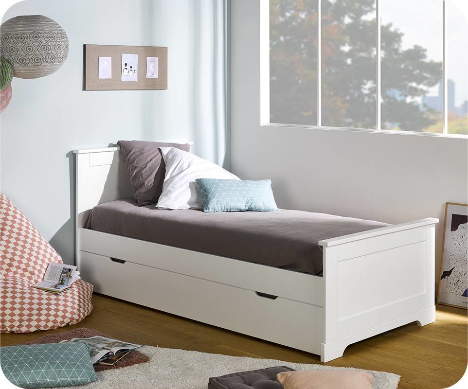 pack lit enfant gigogne mel blanc 90x200 cm avec sommier et matelas. Black Bedroom Furniture Sets. Home Design Ideas