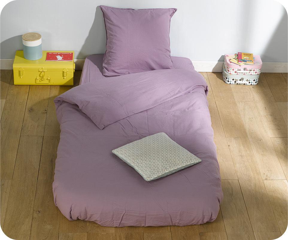 housse de couette perla mauve 140x200 cm avec taie. Black Bedroom Furniture Sets. Home Design Ideas