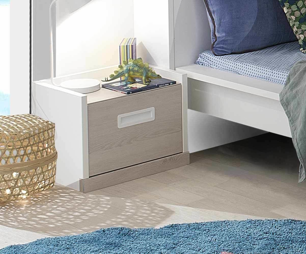 chevet enfant il o blanc et bois. Black Bedroom Furniture Sets. Home Design Ideas