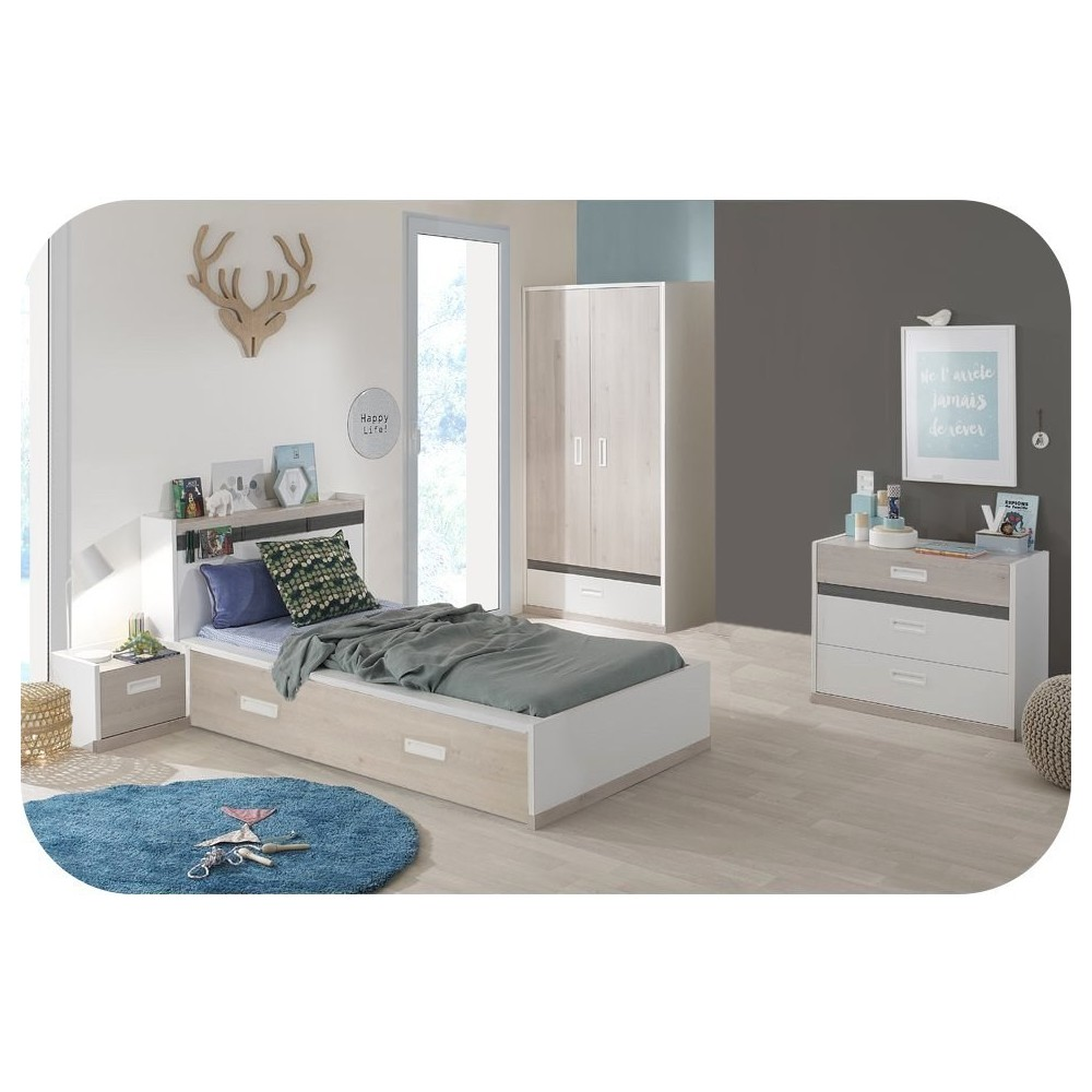 lit enfant il o blanc et bois 90x200 cm. Black Bedroom Furniture Sets. Home Design Ideas