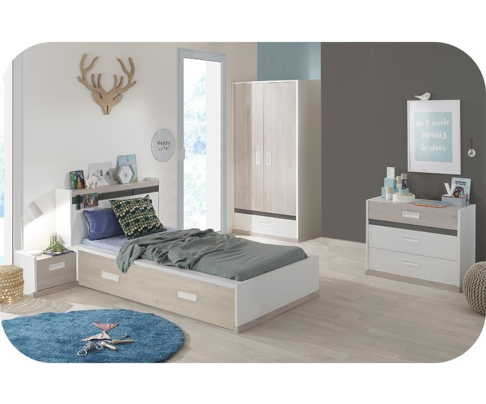 chambre enfant il o blanche et bois set de 5 meubles. Black Bedroom Furniture Sets. Home Design Ideas