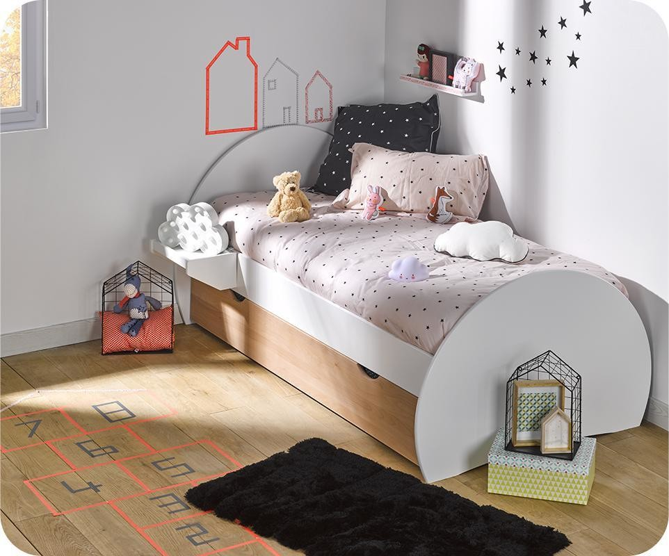 lit enfant gigogne lune blanc et h tre 90x190 cm. Black Bedroom Furniture Sets. Home Design Ideas