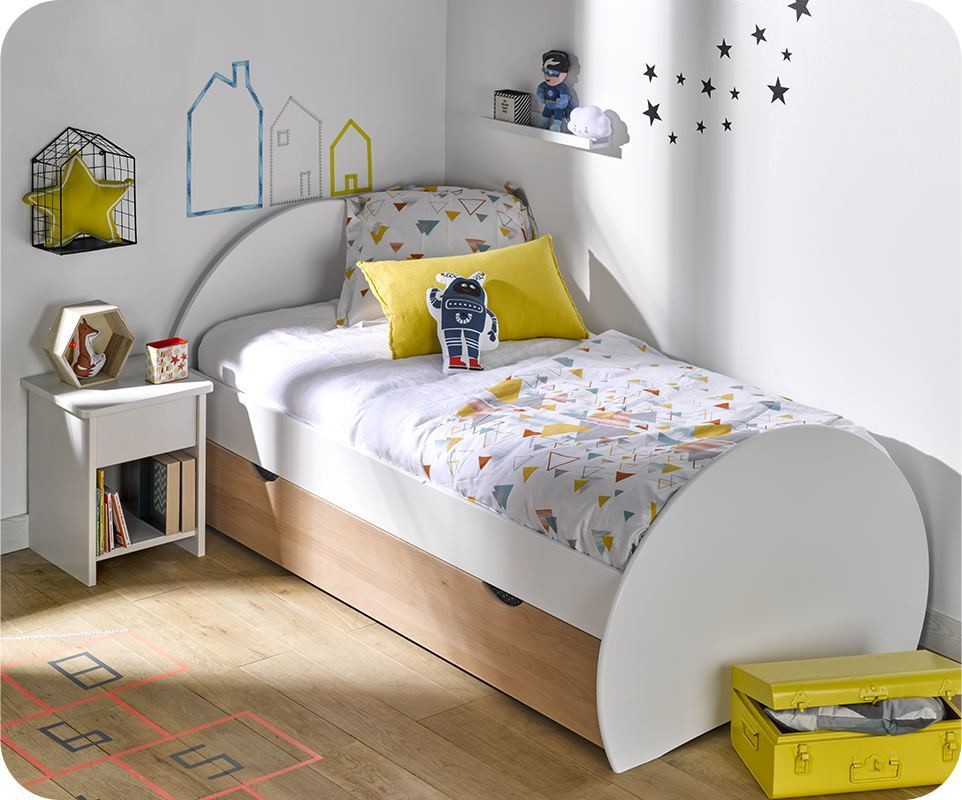 pack lit enfant gigogne lune blanc et h tre 90x190 cm avec matelas. Black Bedroom Furniture Sets. Home Design Ideas