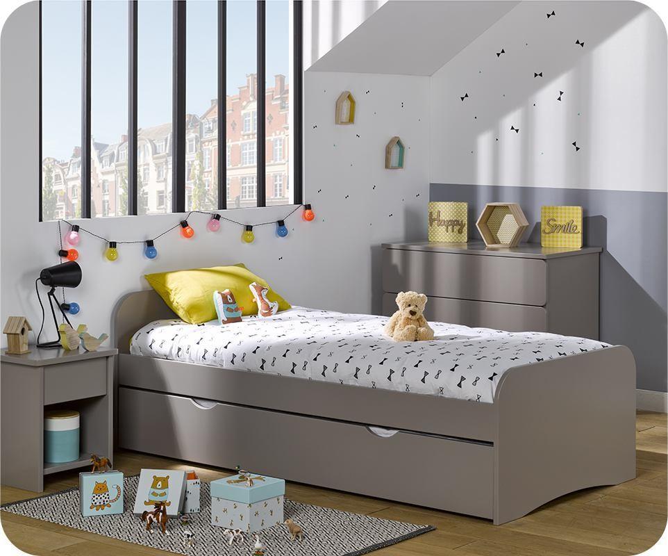 pack lit enfant gigogne twist lin 90x190 cm avec 2 matelas. Black Bedroom Furniture Sets. Home Design Ideas