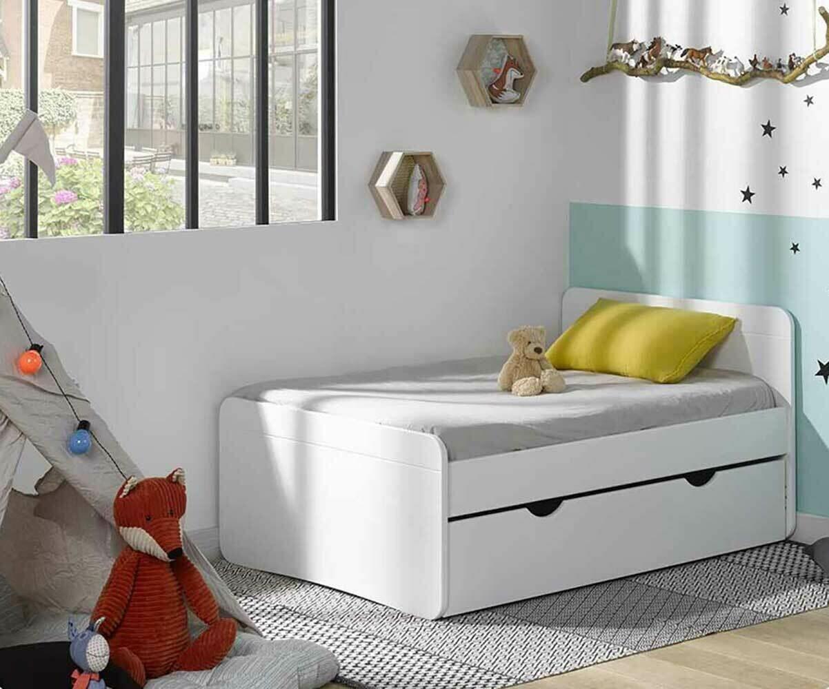 Pack lit enfant volutif willow blanc avec tiroir et matelas - Lit avec rangement dessous ...
