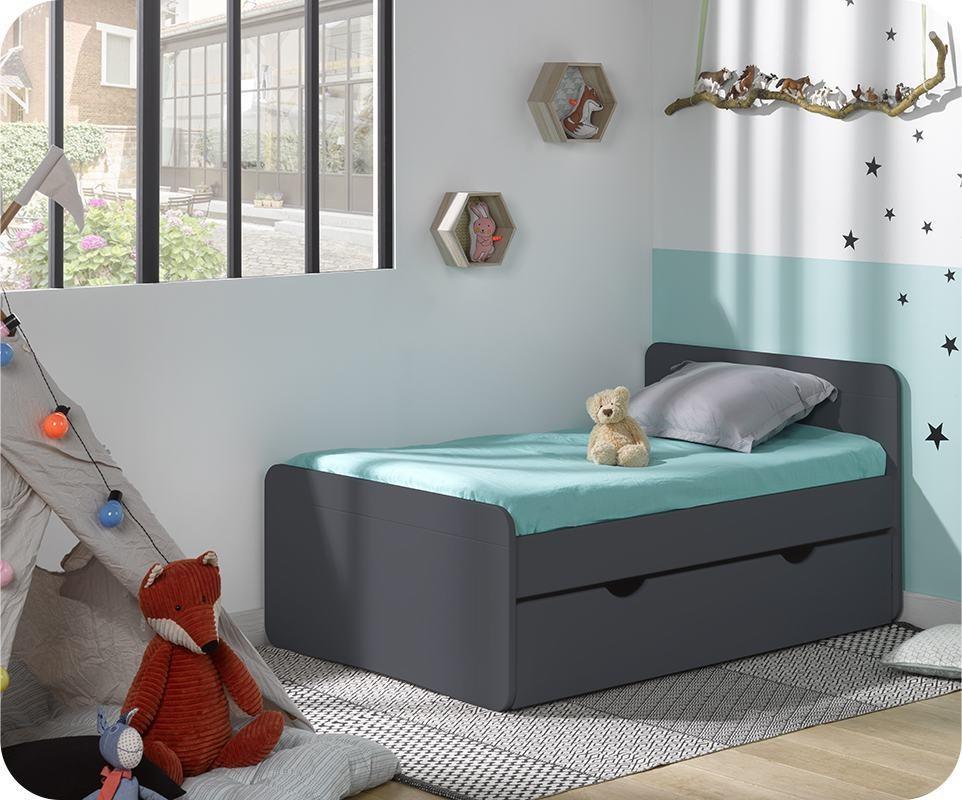 pack lit enfant volutif willow gris anthracite avec tiroir et matelas. Black Bedroom Furniture Sets. Home Design Ideas