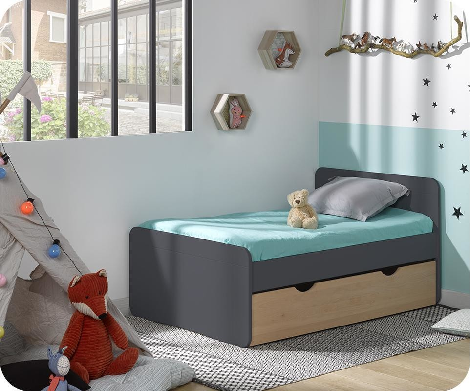 lit enfant volutif willow gris avec tiroir h tre naturel et matelas. Black Bedroom Furniture Sets. Home Design Ideas