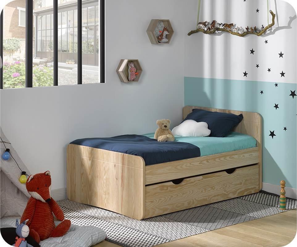 pack lit enfant volutif willow brut peindre avec tiroir. Black Bedroom Furniture Sets. Home Design Ideas