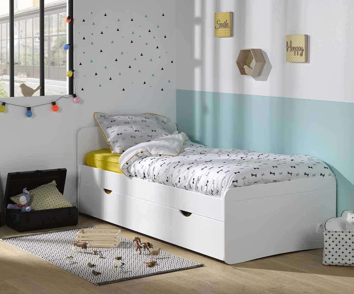 pack lit enfant willow blanc 90x190 cm avec sommier et matelas. Black Bedroom Furniture Sets. Home Design Ideas
