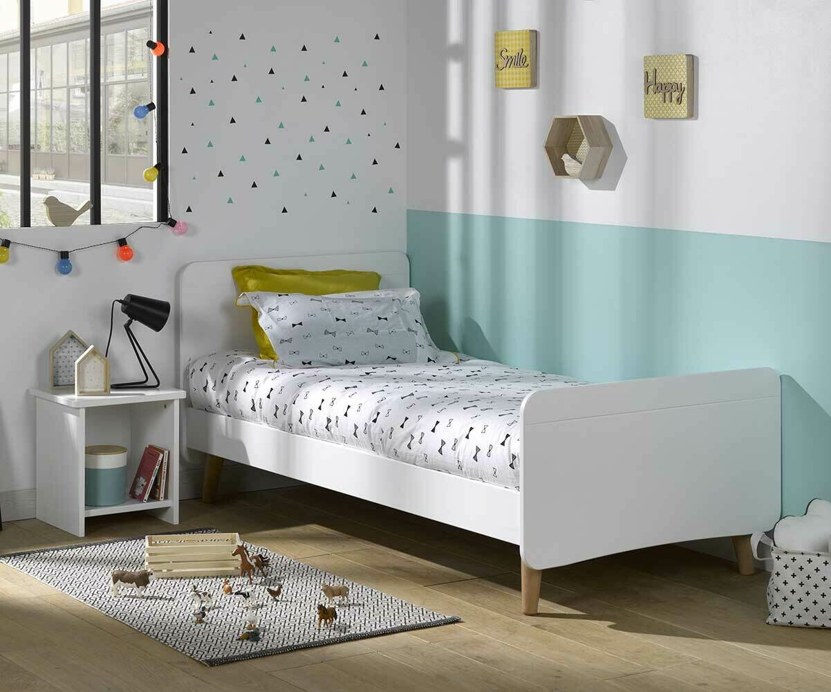 pack lit enfant willow blanc 90x190 cm avec pieds sommier et matelas. Black Bedroom Furniture Sets. Home Design Ideas