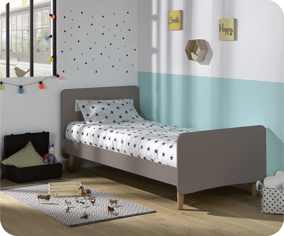 pack lit enfant willow lin 90x190 cm avec pieds sommier et matelas. Black Bedroom Furniture Sets. Home Design Ideas