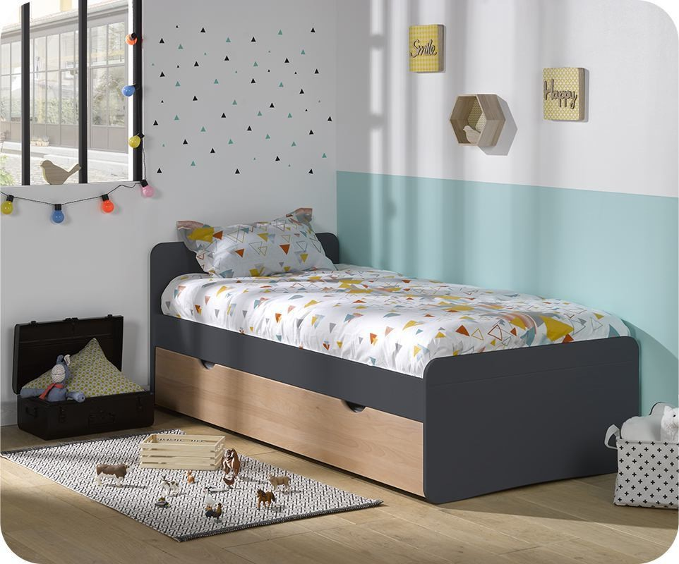 lit enfant gigogne willow gris et h tre naturel 90x190 cm avec matelas. Black Bedroom Furniture Sets. Home Design Ideas