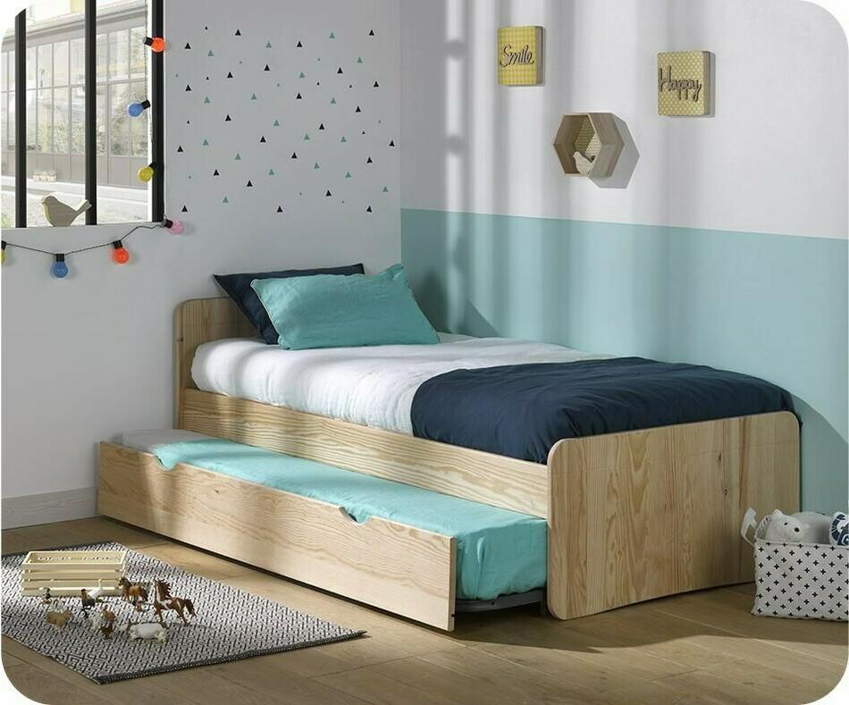 pack lit enfant gigogne willow brut peindre 90x190 cm avec matelas. Black Bedroom Furniture Sets. Home Design Ideas