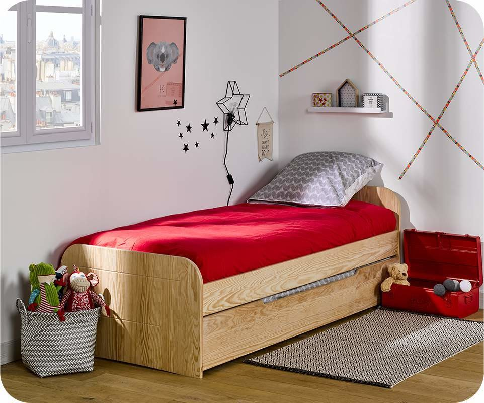 pack lit enfant sleep 39 in brut peindre 90x200 cm avec sommier et matelas. Black Bedroom Furniture Sets. Home Design Ideas