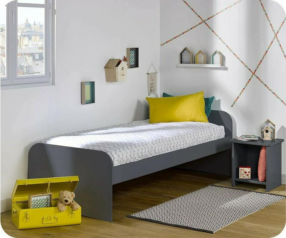 pack lit enfant sleep 39 in gris anthracite 90x200 cm avec sommier et matelas. Black Bedroom Furniture Sets. Home Design Ideas