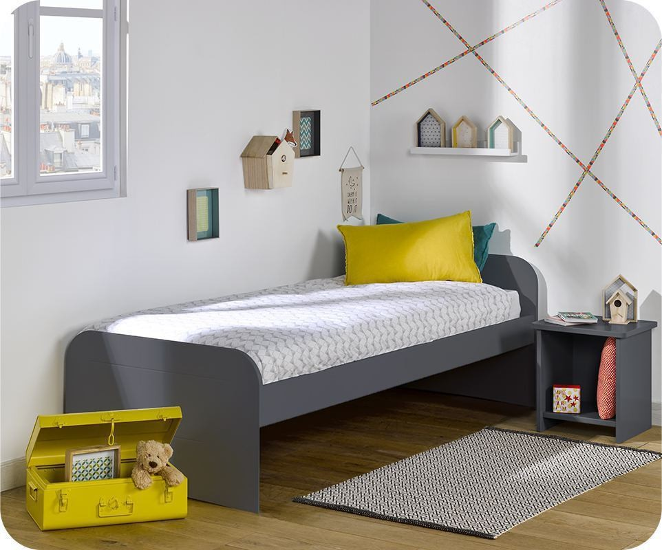 pack lit enfant sleep 39 in gris anthracite 90x200 cm avec sommier et matelas. Black Bedroom Furniture Sets. Home Design Ideas