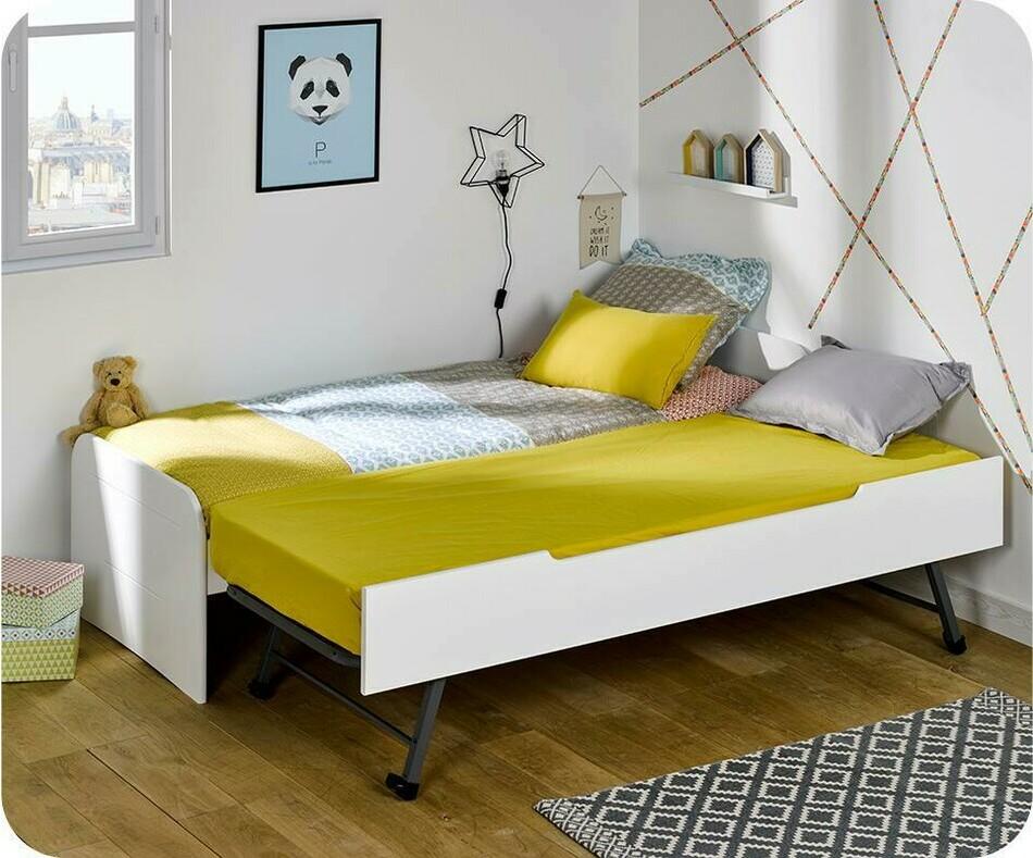 pack lit enfant gigogne sleep 39 in blanc 90x200 cm avec matelas. Black Bedroom Furniture Sets. Home Design Ideas
