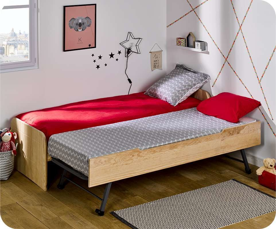 pack lit enfant gigogne sleep 39 in brut peindre 90x200 cm. Black Bedroom Furniture Sets. Home Design Ideas