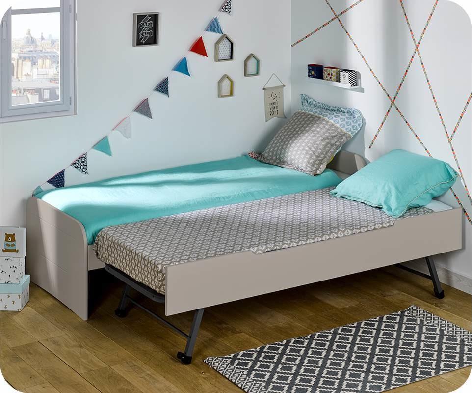 Pack lit enfant gigogne sleep 39 in lin 90x200 cm avec matelas - Lit gigogne avec matelas ...
