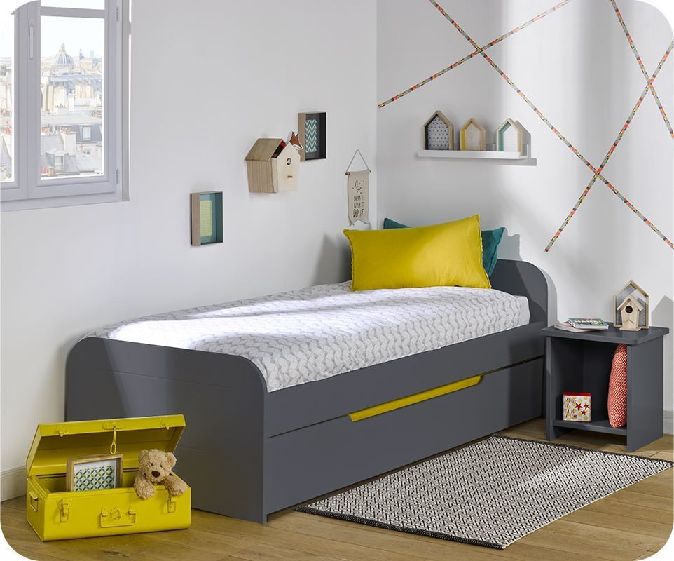 lit enfant gigogne sleep 39 in gris anthracite 80x200 cm avec matelas. Black Bedroom Furniture Sets. Home Design Ideas