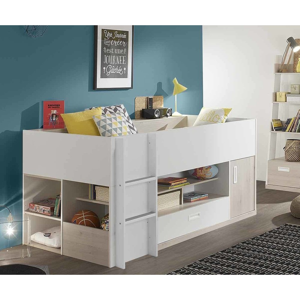 lit enfant mi hauteur il o blanc et bois 90x200 cm. Black Bedroom Furniture Sets. Home Design Ideas