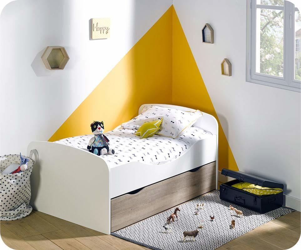 lit enfant evolutif oaki blanc et ch ne gris avec tiroir. Black Bedroom Furniture Sets. Home Design Ideas