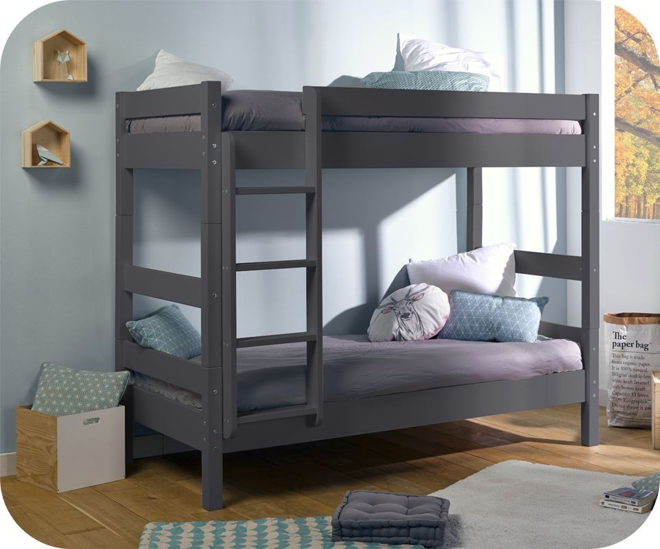 lit enfant superpos wood gris anthracite 90x190 cm avec 2 matelas. Black Bedroom Furniture Sets. Home Design Ideas