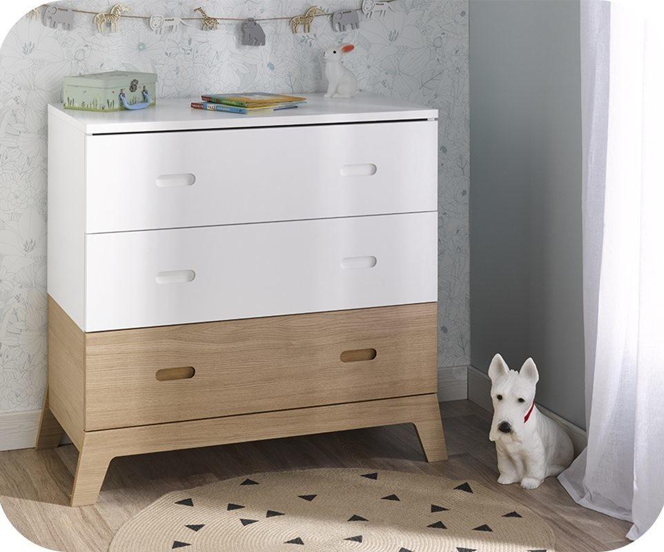 commode enfant aloa blanche et bois. Black Bedroom Furniture Sets. Home Design Ideas