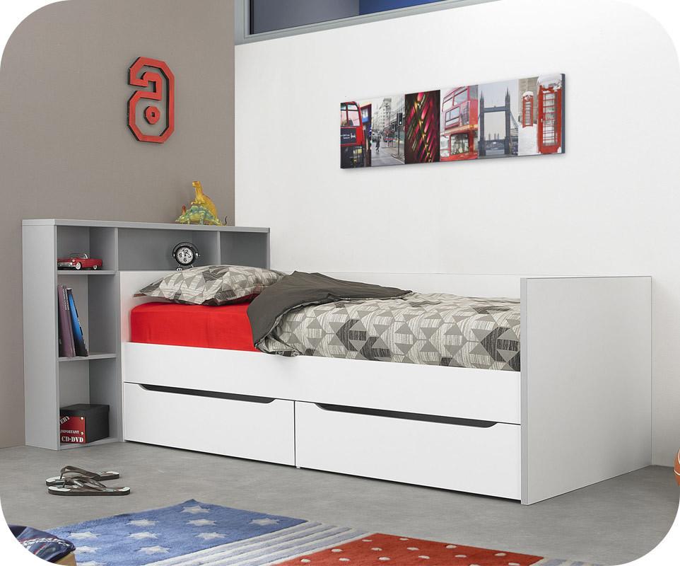 pack lit banquette enfant tim o blanc et gris 90x200 cm avec matelas. Black Bedroom Furniture Sets. Home Design Ideas