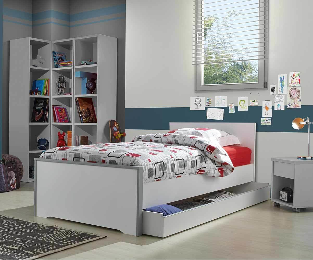 lit enfant tim o blanc et gris 90x190 cm. Black Bedroom Furniture Sets. Home Design Ideas