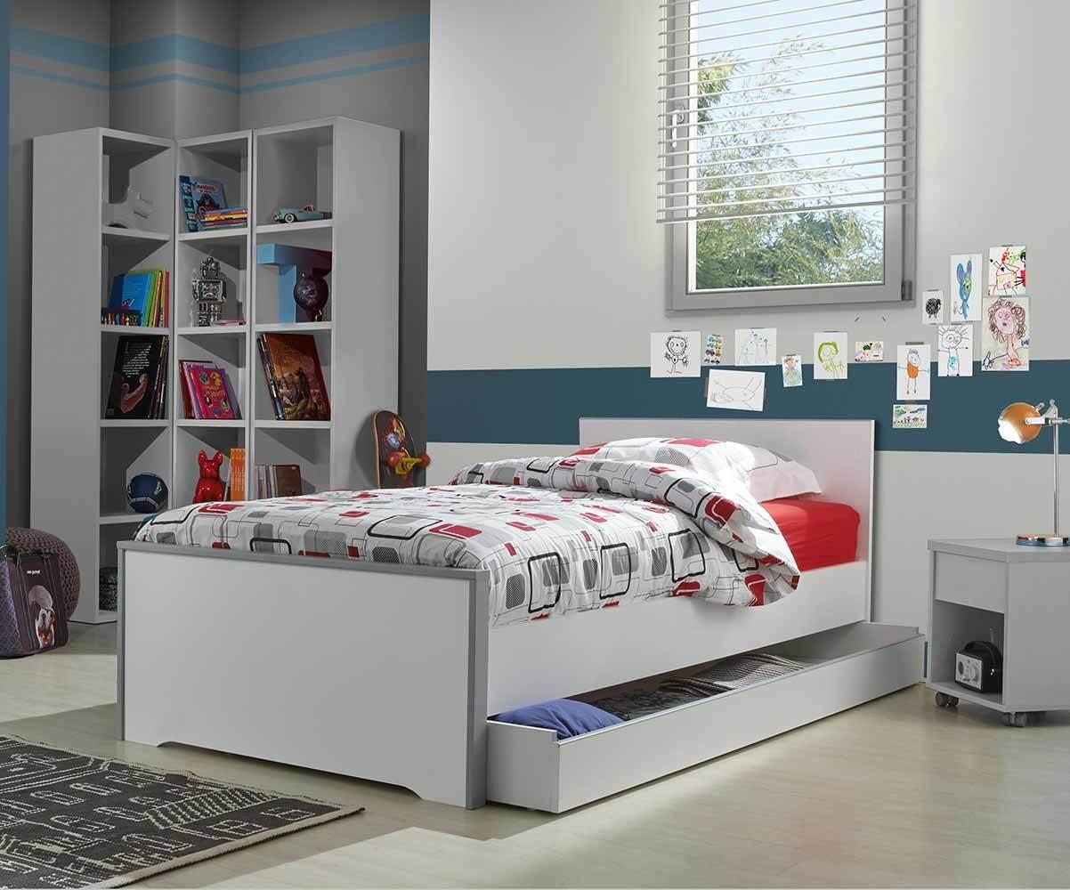 Pack lit enfant tim o blanc et gris 90x190 cm avec matelas - Vente privee lit enfant ...