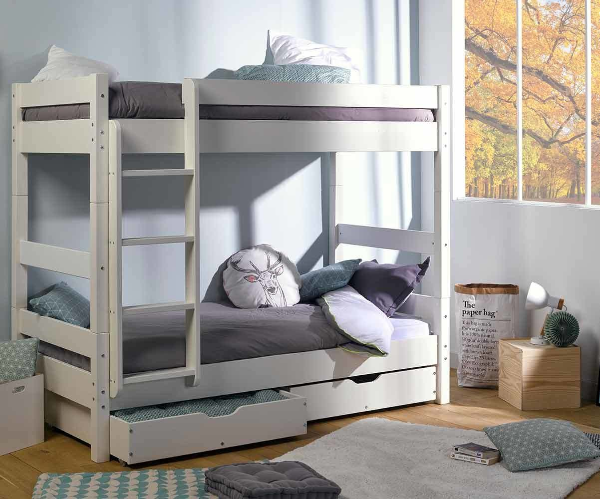 pack lit enfant superpos wood blanc 80x190 cm avec 2 matelas. Black Bedroom Furniture Sets. Home Design Ideas