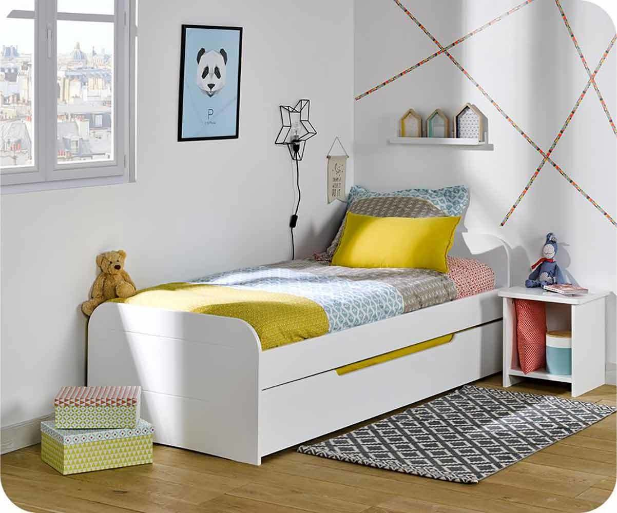 pack lit enfant sleep 39 in blanc 90x190 cm avec sommier et. Black Bedroom Furniture Sets. Home Design Ideas