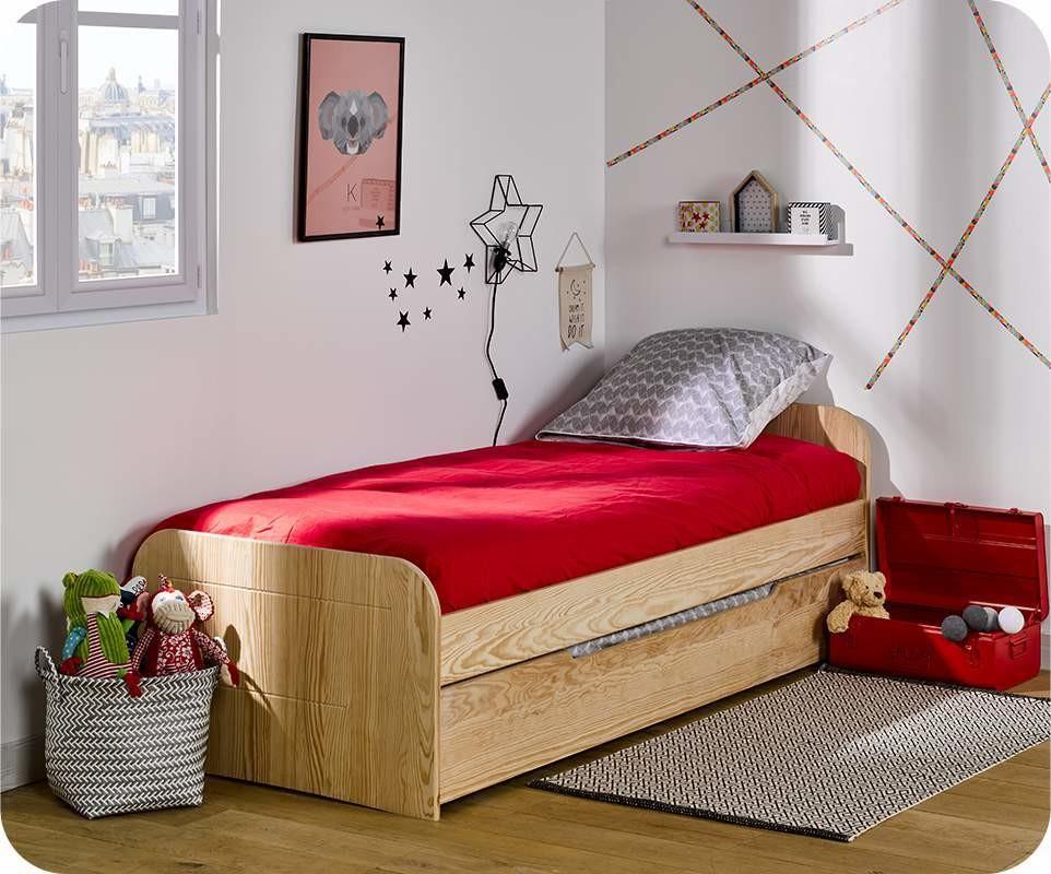 pack lit enfant gigogne sleep 39 in brut peindre 90x190 cm avec matelas. Black Bedroom Furniture Sets. Home Design Ideas