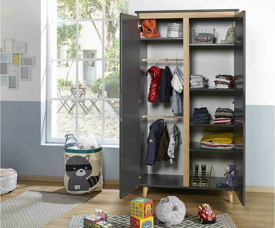 Armoire enfant Willow gris anthracite 2 portes