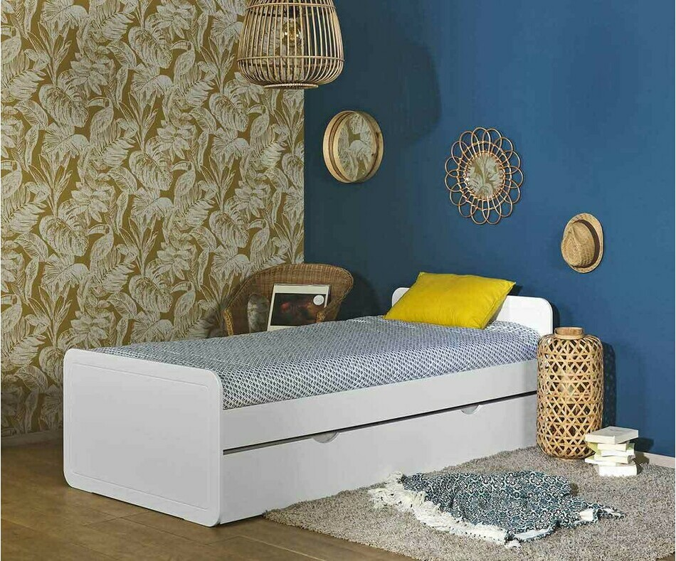 Lit Adulte Lemon Blanc 90 x 200 cm (sommier gigogne en option)